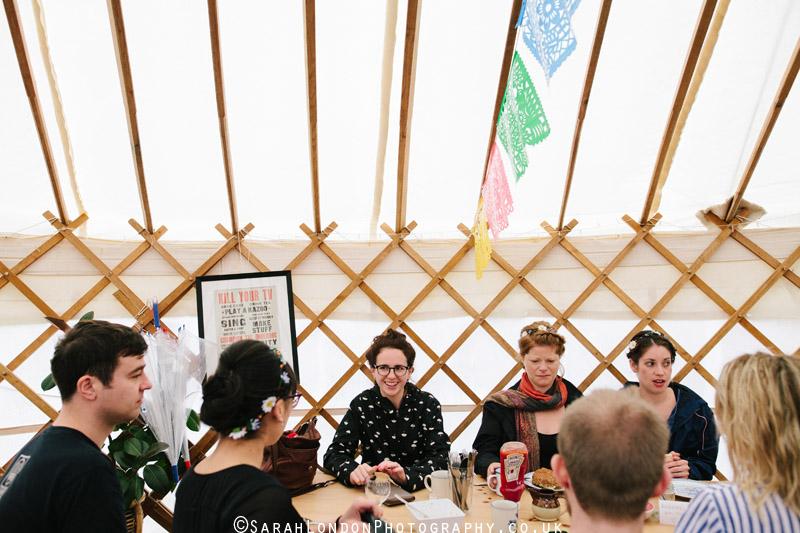 wedding day breakfast in a yurt