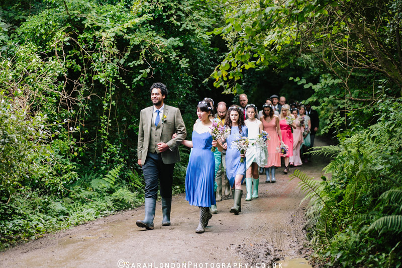 Bridal party entrance in the woods