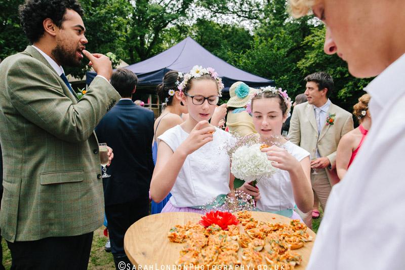 bridesmaids try some canapés