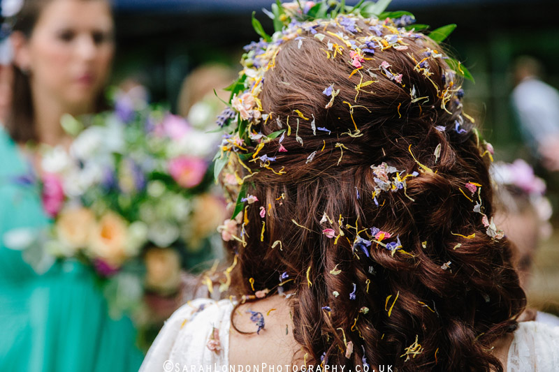 Bride covered in confetti