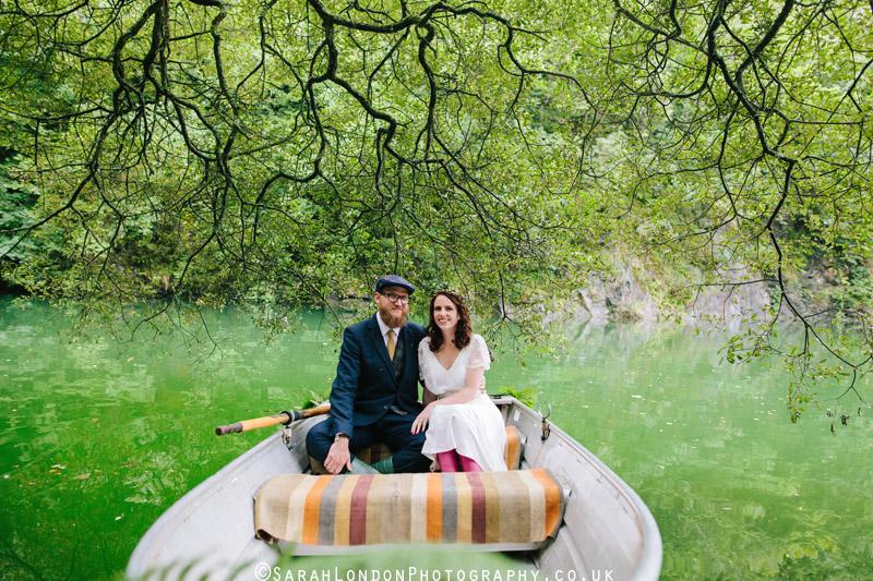 bridal portrait on a lake in cornwall