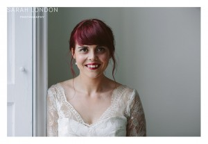 Bridal portrait before the ceremony by the window in Clissold House.