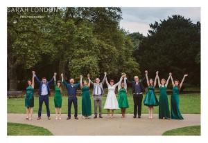 Green bridesmaids dresses, all chosen individually by each bridesmaid.