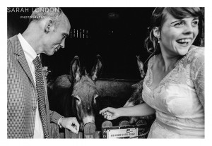 Black and White bride and groom portrait with donkey.