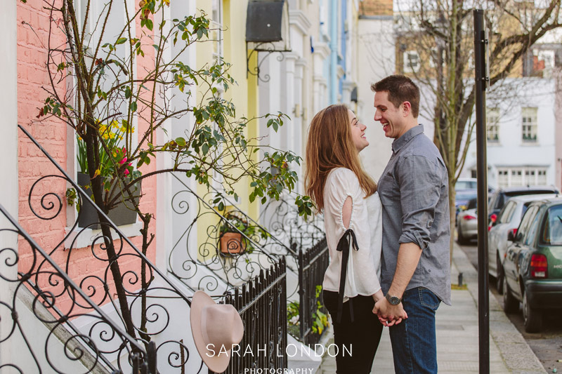 Engagement portrait on a colourful Notting Hill street