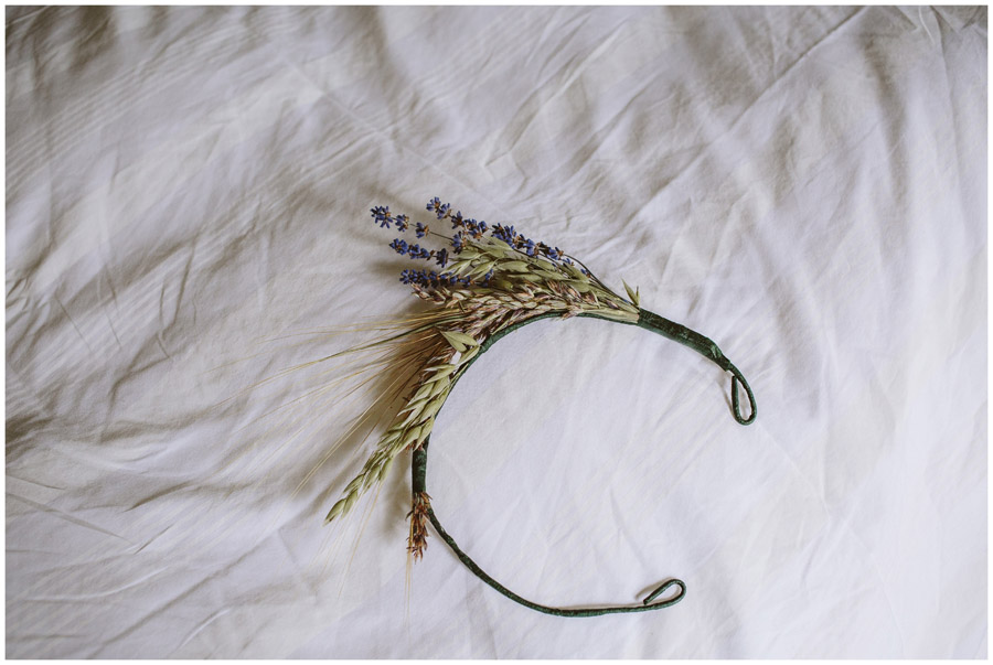 detail shot of headdress made from corn and lavender