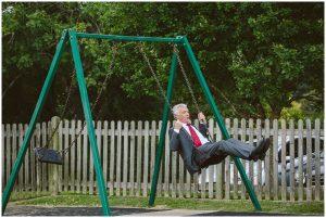 wedding guest on swing