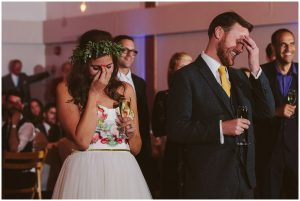bride and groom cringe at speeches